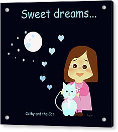 Cathy And The Cat Sweet Dreams Acrylic Print