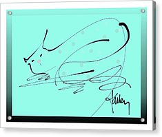 Acrylic Print featuring the mixed media Catnap In Blue by Larry Talley