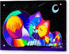 Acrylic Print featuring the drawing Catnaps For Two by Nick Gustafson