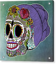 Acrylic Print featuring the drawing Catrina Sugar Skull by Tammy Wetzel