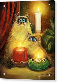 Cats And Candles No. 1 Acrylic Print by Baron Dixon