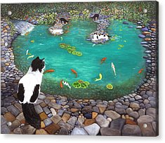 Cats And Koi Acrylic Print