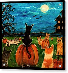 Cats In Pumpkin Patch Acrylic Print by Paintings by Gretzky