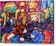Acrylic Print featuring the painting Cats In The Lounge by Dianne  Connolly