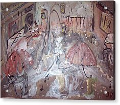 Acrylic Print featuring the painting Cats Singing In The Rain by Judith Desrosiers