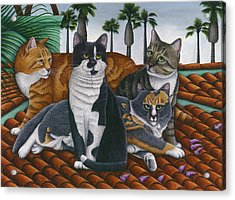 Cats Up On The Roof Acrylic Print by Carol Wilson