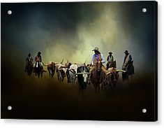 Cattle Drive At Dawn Acrylic Print