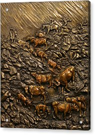 Acrylic Print featuring the sculpture Cattle Drive by Dawn Senior-Trask
