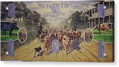 Cattle Drive Down Marion Avenue 1903 Sketch Acrylic Print by Michael Vires