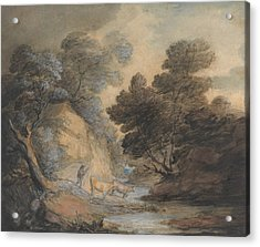 Cattle Watering By A Stream Acrylic Print by Thomas Gainsborough