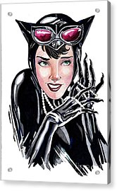 Catwoman- Markers Acrylic Print by Bill Richards