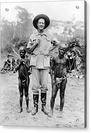 Caucasian Man With Two African Pigmy Acrylic Print
