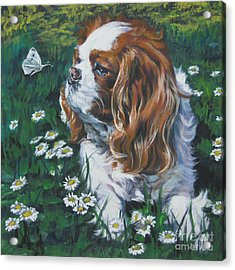 Cavalier King Charles Spaniel With Butterfly Acrylic Print