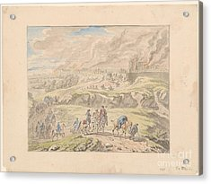 Cavalry Leaving A Burning City Acrylic Print