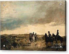 Cavalry Men Maneuvering In The Dunes Acrylic Print