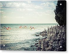 Acrylic Print featuring the photograph Cave Point Rock Formations by Joel Witmeyer