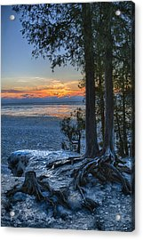 Cave Point Winter Acrylic Print