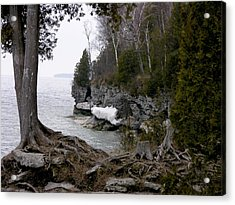 Cave Point Wisconsin Acrylic Print by Keith Stokes