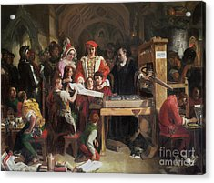 Caxton Showing The First Specimen Of His Printing Acrylic Print