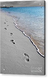 Cayman Footprints Color Splash Black And White Acrylic Print by Shawn O'Brien