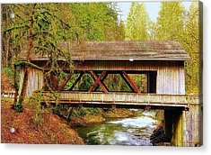 Cedar Creek Grist Mill Covered Bridge Acrylic Print
