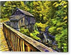 Cedar Creek Grist Mill Van Gogh Acrylic Print by Mark Kiver