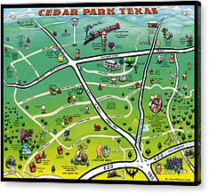 Cedar Park Texas Cartoon Map Acrylic Print by Kevin Middleton