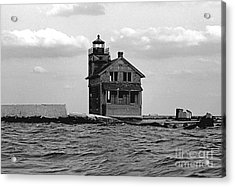 Cedar Point Light Chesapeake Bay Maryland Vintage 1960 Acrylic Print by Wayne Higgs