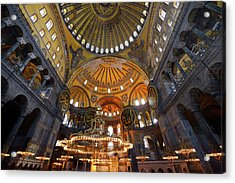 Ceiling Domes And Lit Chandeliers With Six Winged Saraphim In Th Acrylic Print by Reimar Gaertner