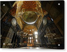 Ceiling Domes In An Empty Hagia Sophia Istanbul With Chandeliers Acrylic Print by Reimar Gaertner