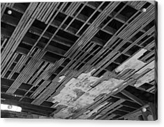 Ceiling Laths Bw Acrylic Print by Jeff Roney