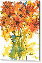 Celebration Of Sunflowers Watercolor Painting By Kmcelwaine Acrylic Print