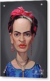 Acrylic Print featuring the digital art Celebrity Sunday - Frida Kahlo by Rob Snow