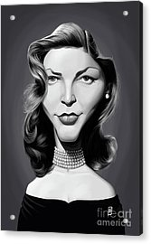 Acrylic Print featuring the digital art Celebrity Sunday - Lauren Bacall by Rob Snow