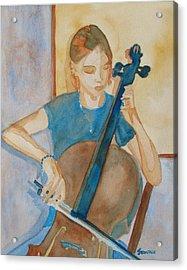 Cello Practice Iv Acrylic Print by Jenny Armitage
