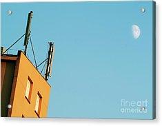Cellular Phone Antennas And A Half Moon At Sunset Acrylic Print by Sami Sarkis