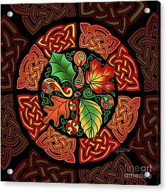 Acrylic Print featuring the mixed media Celtic Autumn Leaves by Kristen Fox