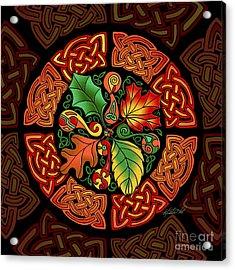Celtic Autumn Leaves Acrylic Print by Kristen Fox