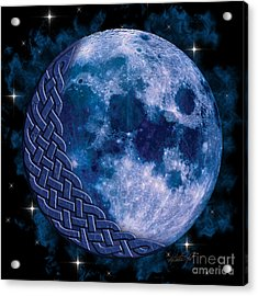 Acrylic Print featuring the mixed media Celtic Blue Moon by Kristen Fox
