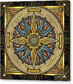 Acrylic Print featuring the mixed media Celtic Compass by Kristen Fox