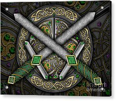 Acrylic Print featuring the mixed media Celtic Daggers by Kristen Fox