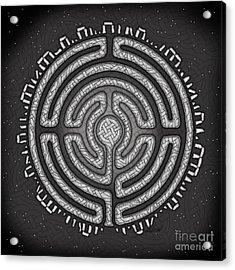 Acrylic Print featuring the mixed media Celtic Labyrinth Mandala by Kristen Fox