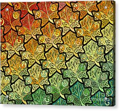 Acrylic Print featuring the mixed media Celtic Leaf Transformation by Kristen Fox