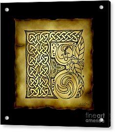 Celtic Letter F Monogram Acrylic Print