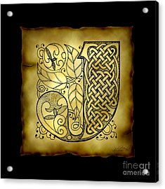 Celtic Letter J Monogram Acrylic Print by Kristen Fox