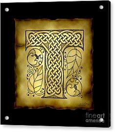 Celtic Letter T Monogram Acrylic Print