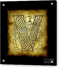 Celtic Letter V Monogram Mixed Media by Kristen Fox