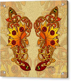 Acrylic Print featuring the mixed media Celtic Loose Leaves by Kristen Fox