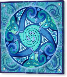 Acrylic Print featuring the mixed media Celtic Planet by Kristen Fox