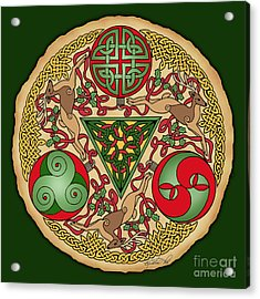 Acrylic Print featuring the mixed media Celtic Reindeer Shield by Kristen Fox